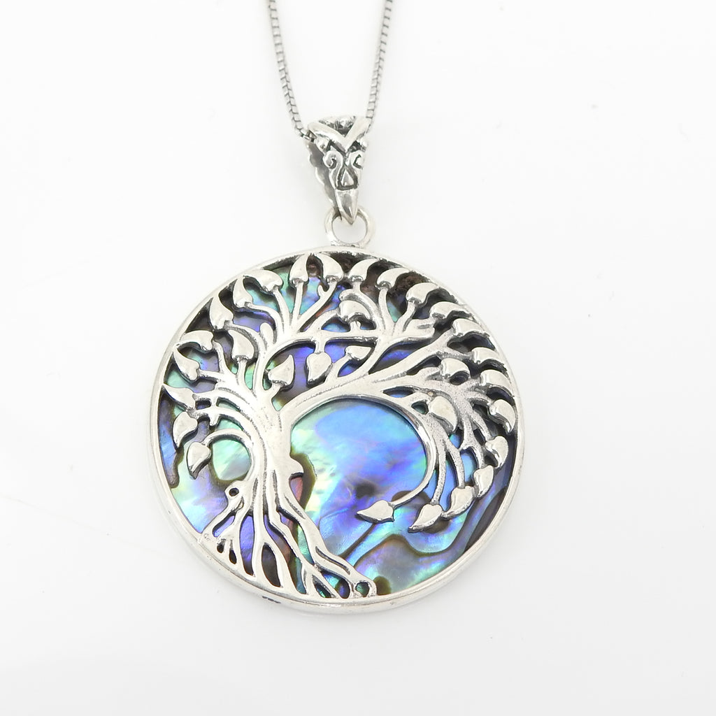 S/S Tree of Life W Abalone Pendant