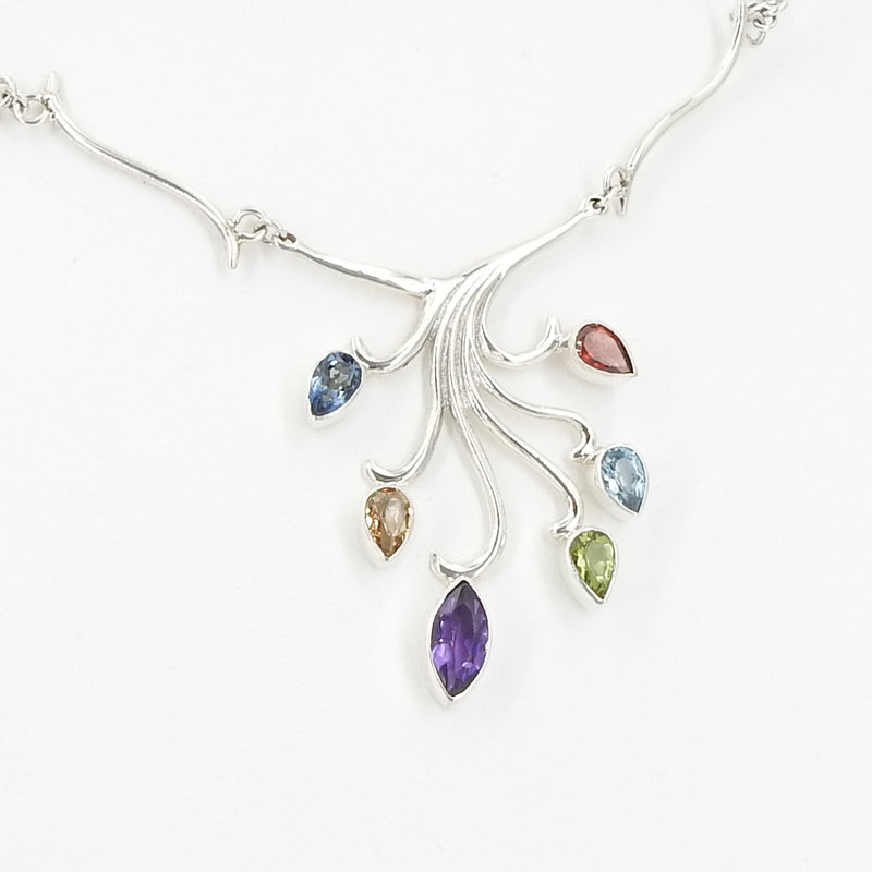 Sterling Silver Multi Gemstone Branch Necklace