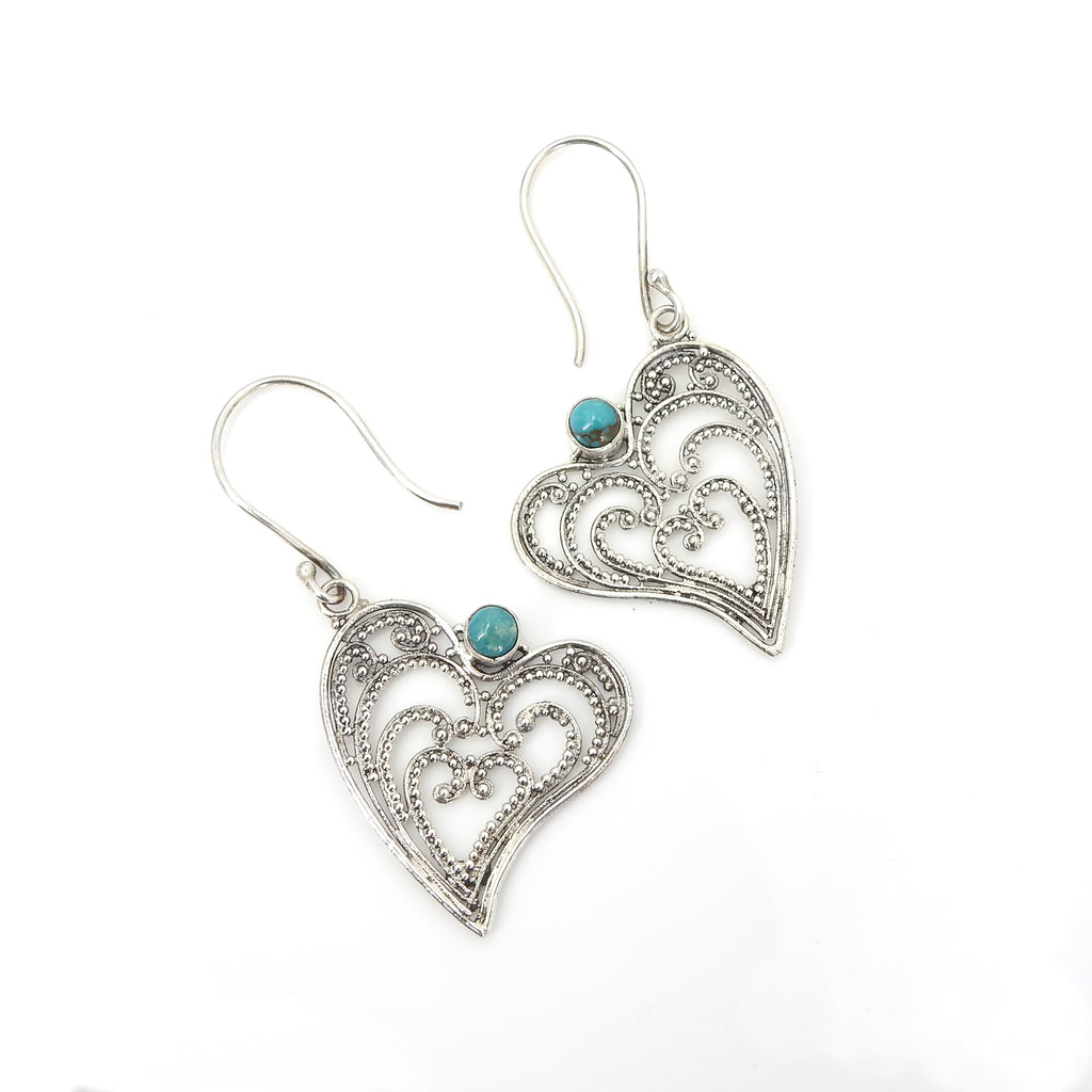 Sterling Silver Filigree Heart w/ Turquoise Earrings