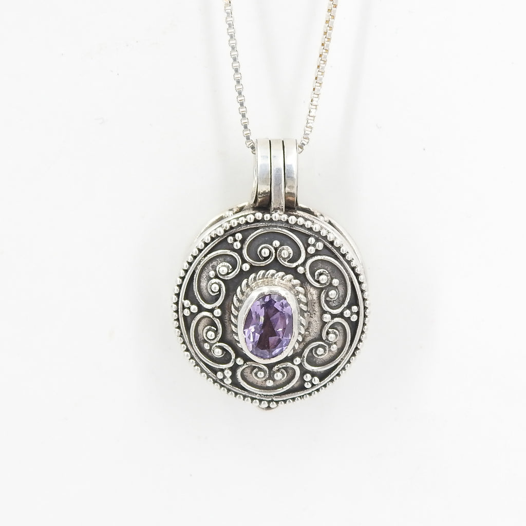 Sterling Silver Locket Pendant With Amethyst