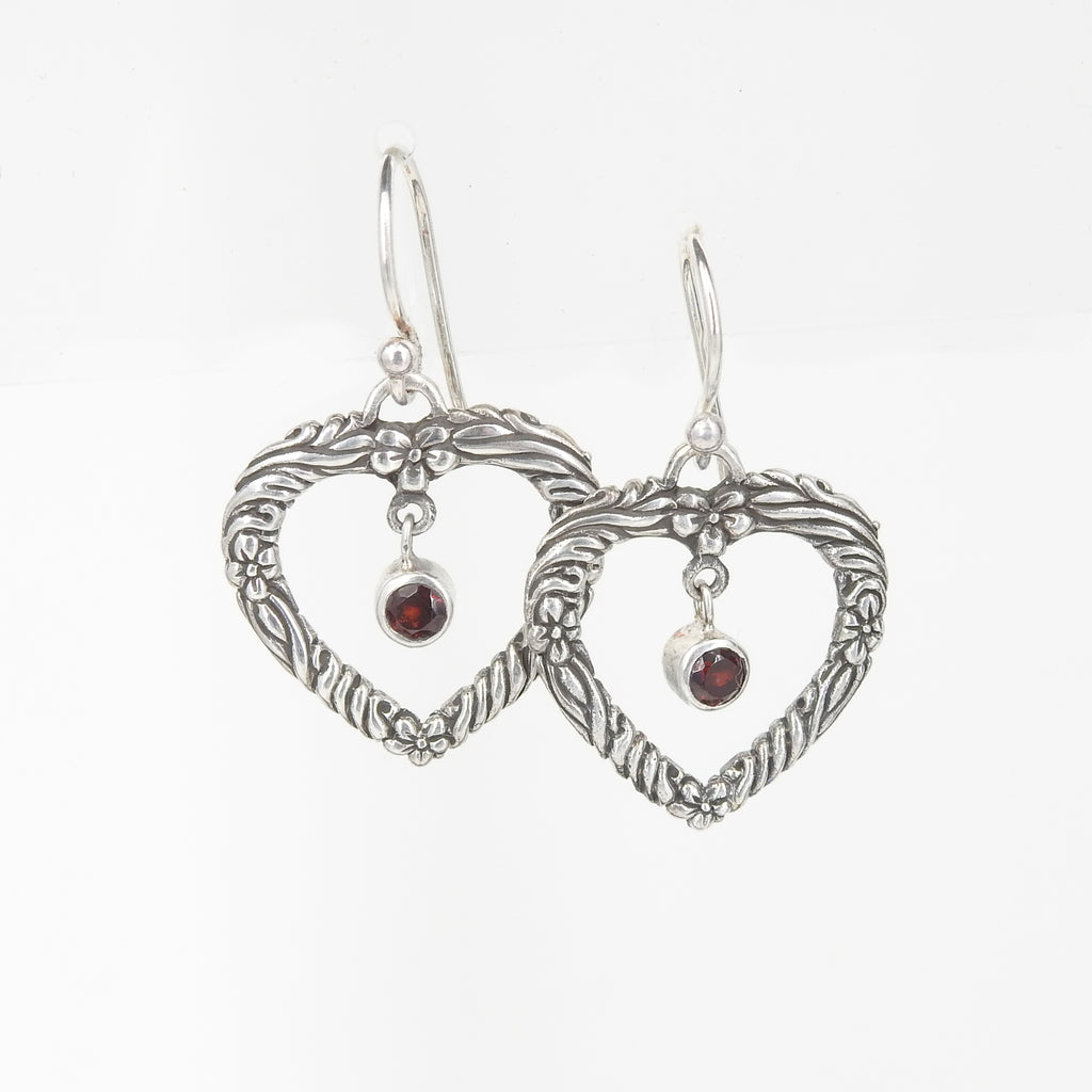Sterling Silver Heart w/ Garnet Center Earring
