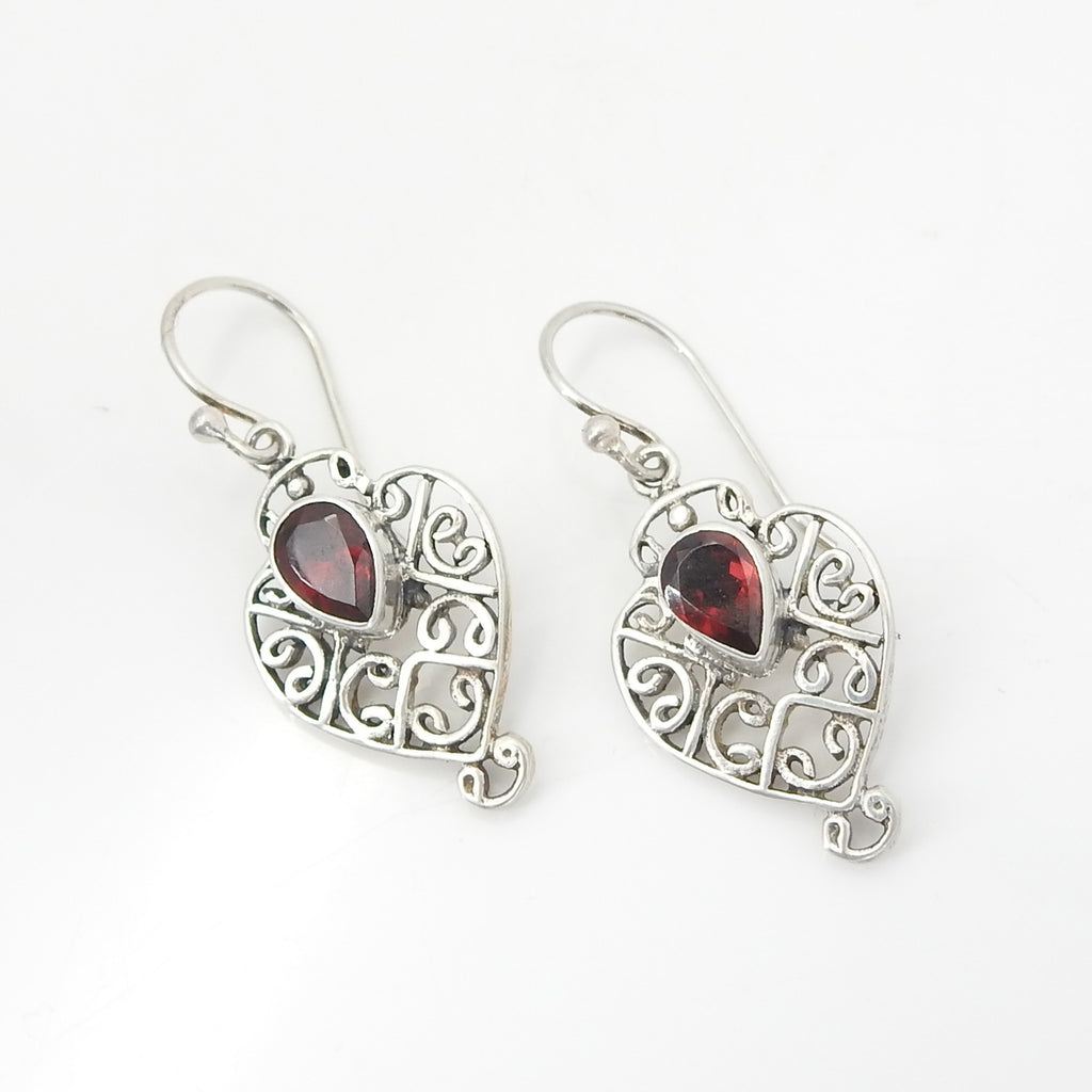 Sterling Silver Filigree Heart w/ Garnet Earring