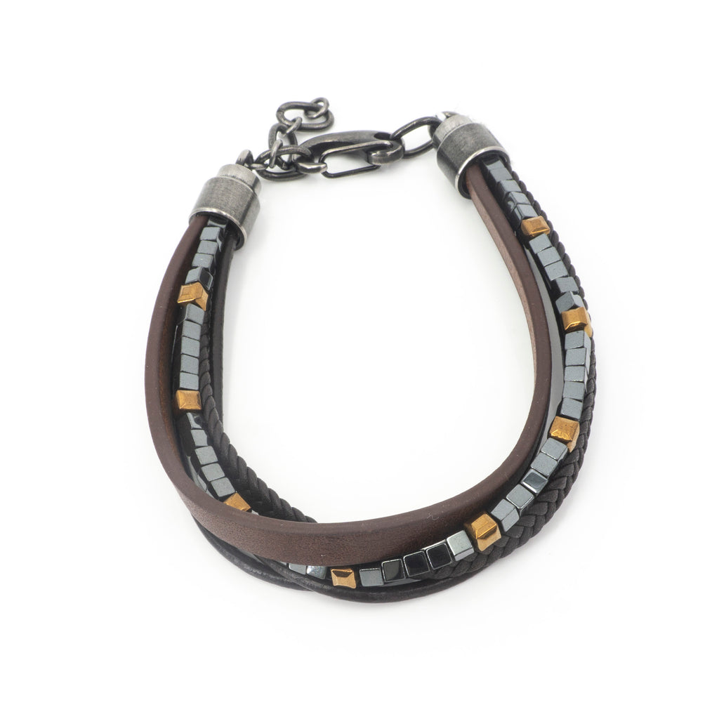 Stainless Steel W Brown Leather Bracelet