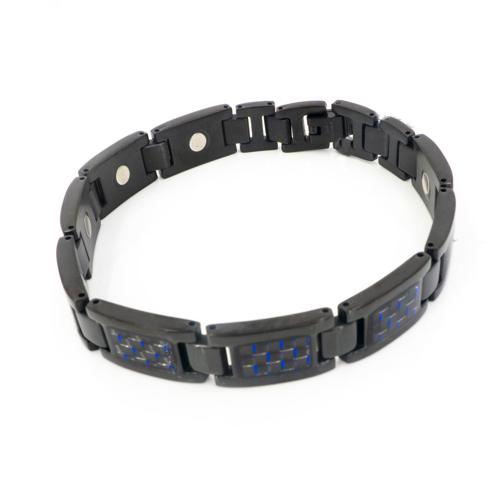 Stainless Steel Blue Link Mens Bracelet