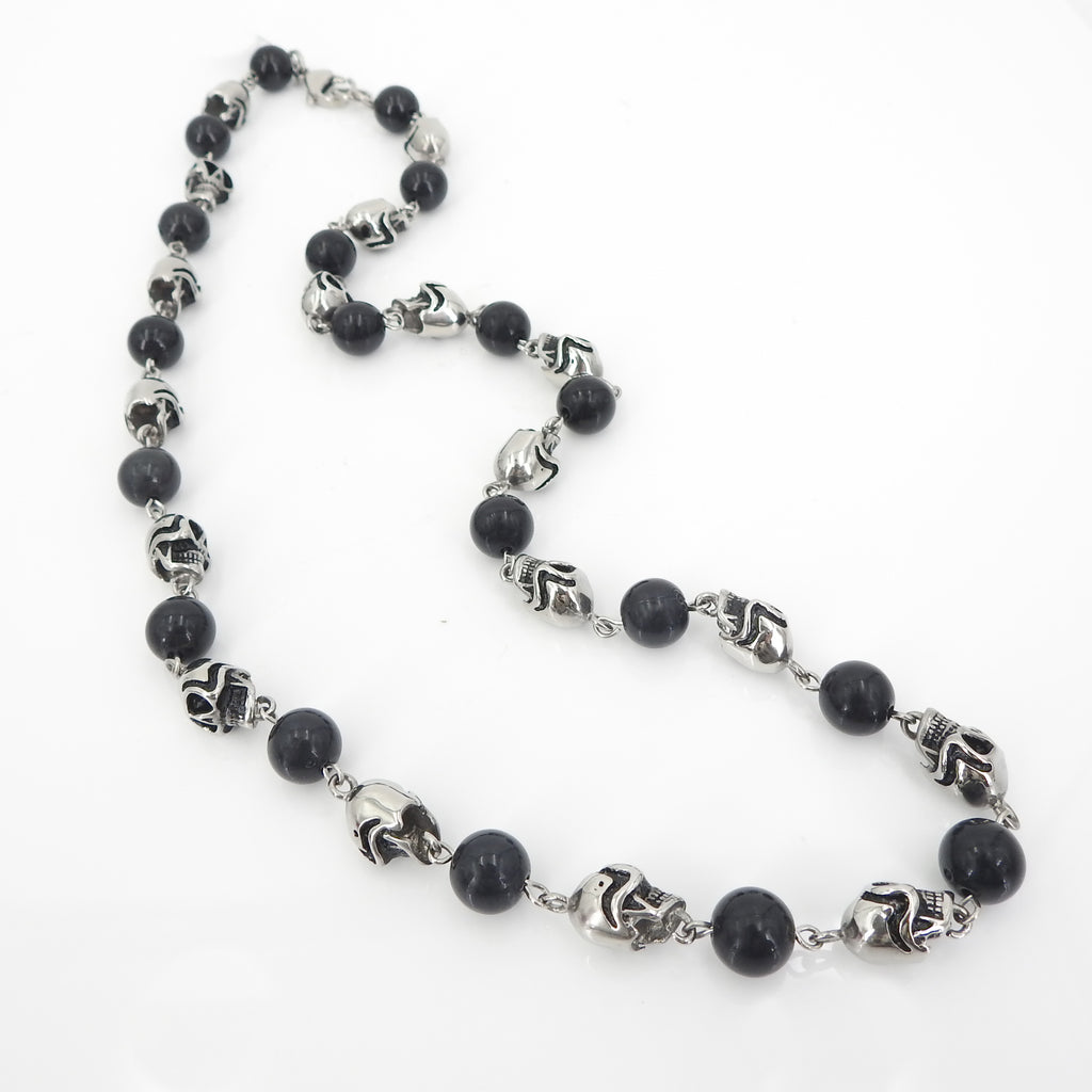Skull W Onyx Bead Necklace Stainless