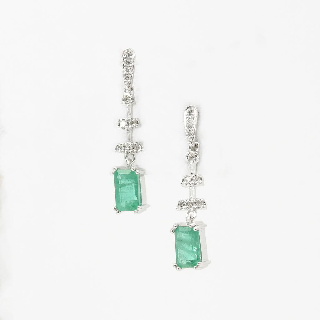 14KT White Gold Emerald & Diamond Earrings