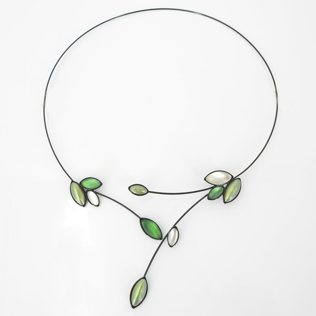 Leaves W Branches Memory Wire Necklace