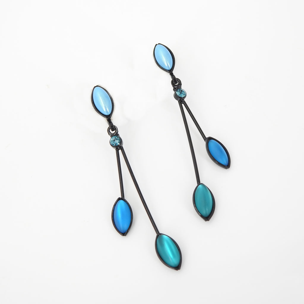 3 Leaves Crystal Post Earring