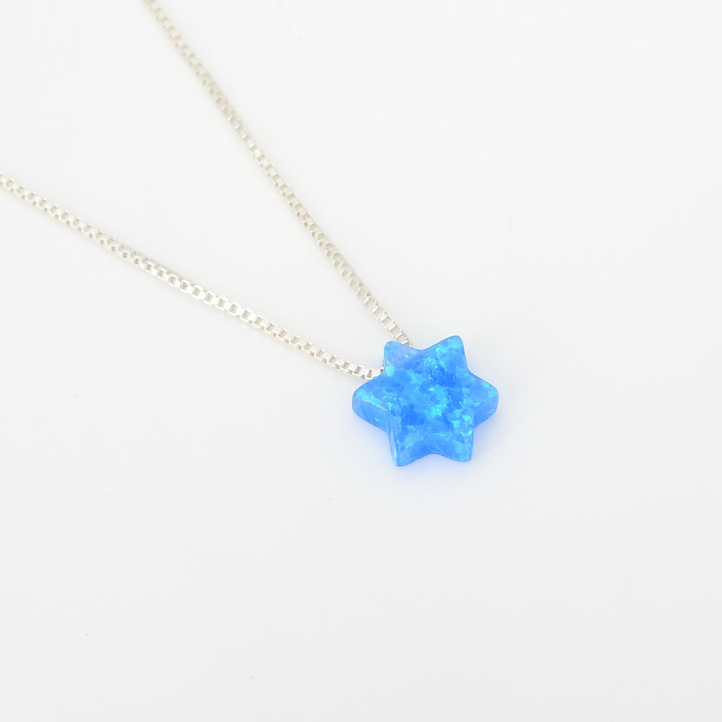 Sterling Silver Small Created Opal Star Necklace