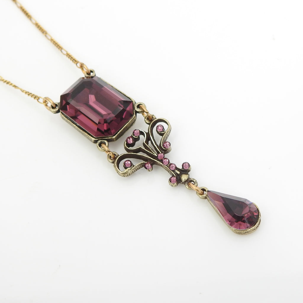 Vintage Inspired Faceted Crystal W Drop Necklace