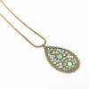 Mini Flower W Stones Oval Necklace