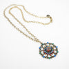 Filigreed Flower w Crystals Necklace