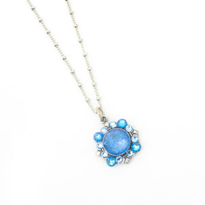 Blue Flower Crystal Necklace