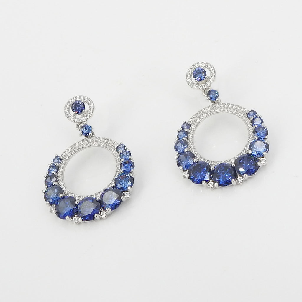 Sterling Silver CZ & Created Sapphire Earrings
