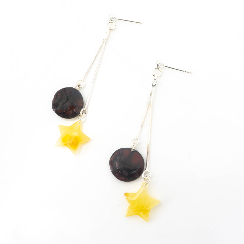 S/S Amber Star and Circle Earrings