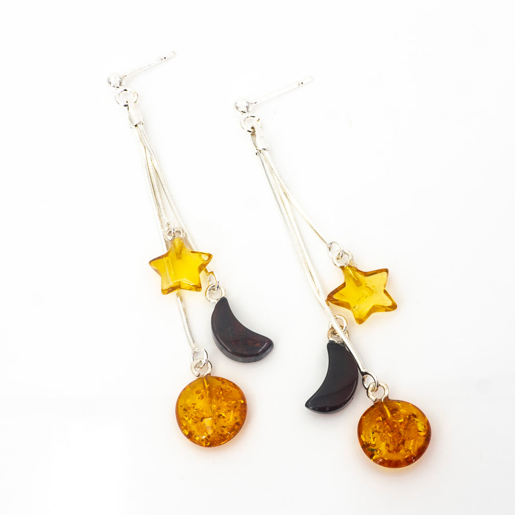 S/S Mixed Amber Star and Moon Earrings