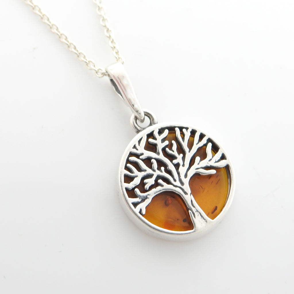 Sterling Silver Small Amber Tree of Life Pendant