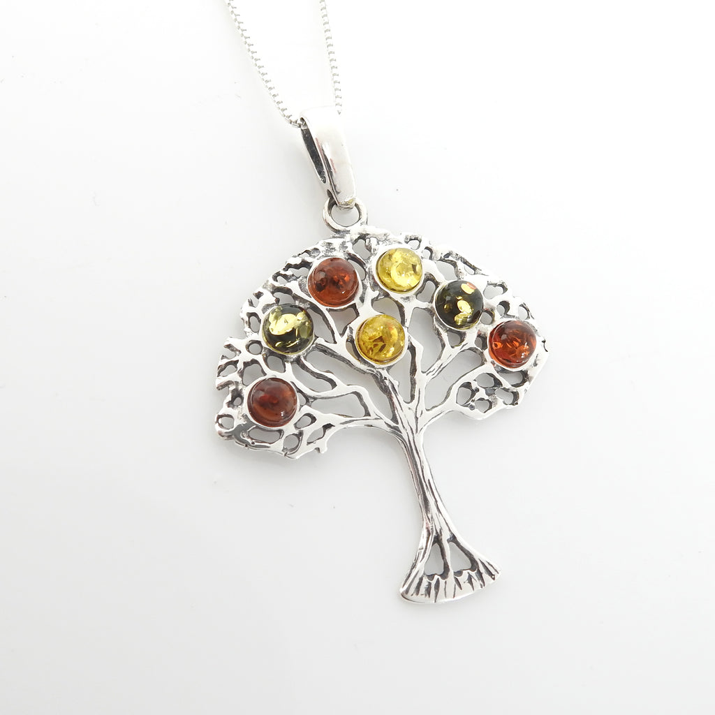 Sterling Silver Multi Color Amber Tree of Life Pendant
