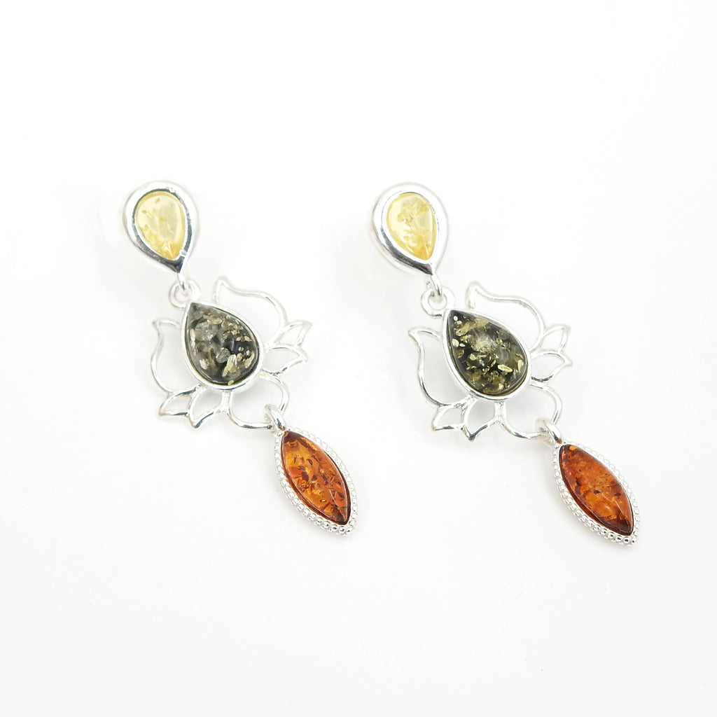 Sterling Silver Lotus Multi Color Amber Earrings