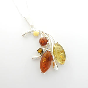 Sterling Silver Multi Color Amber Pendant