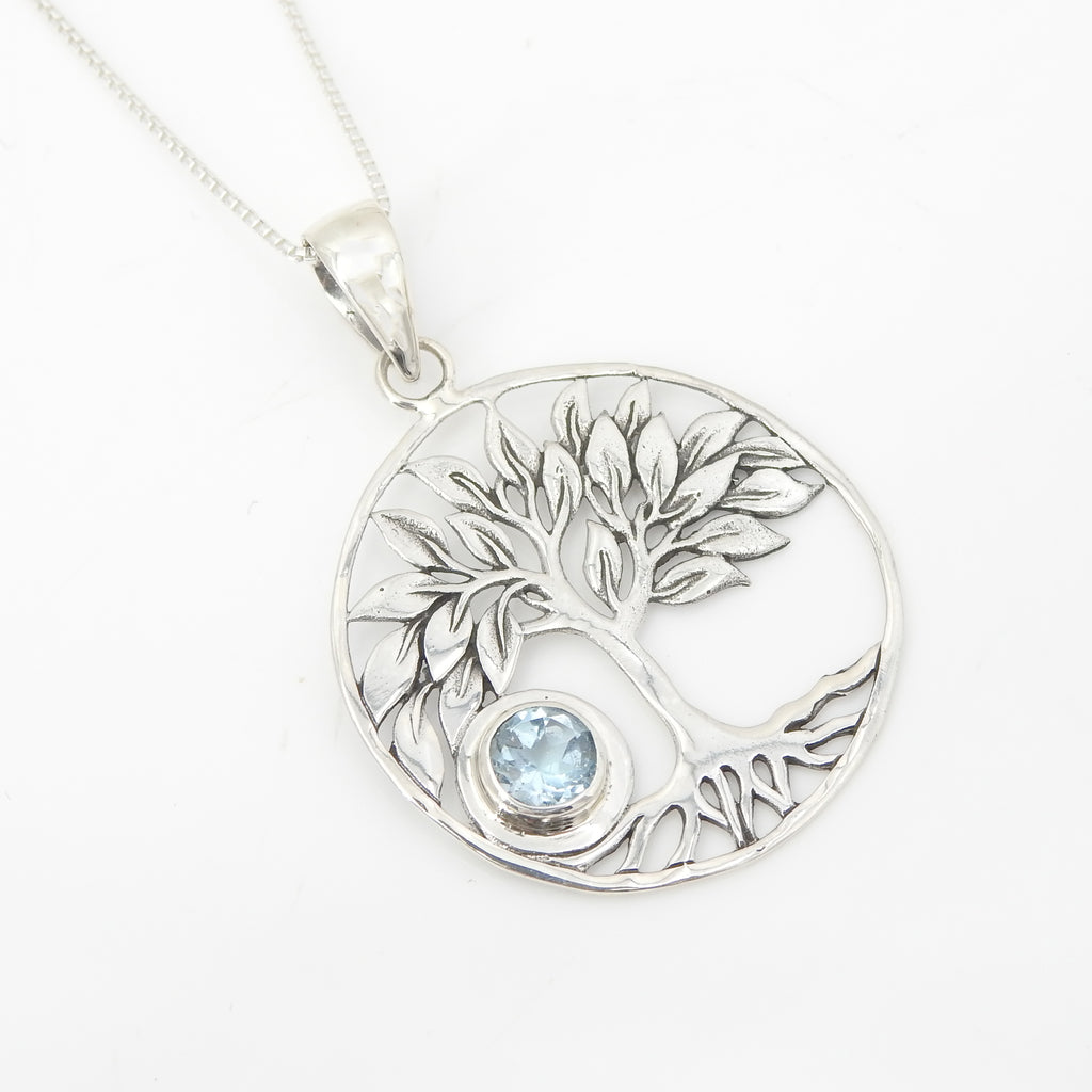 Sterling Silver Tree of Life w/ Blue Topaz Pendant