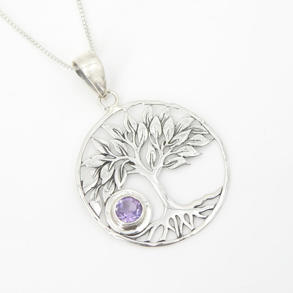Sterling Silver Tree of Life w/ Amethyst Pendant