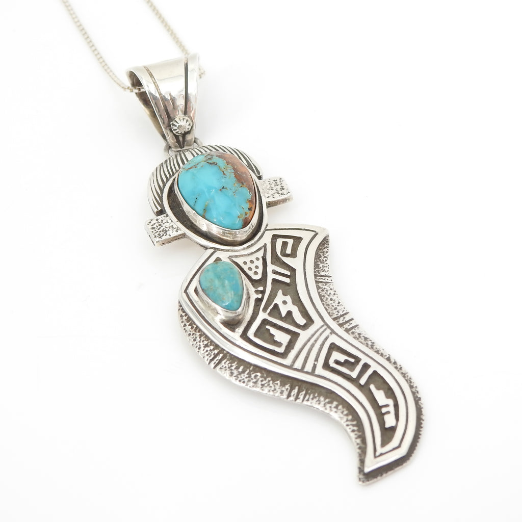 Sterling Silver Southwestern Native American Royston Turquoise Pendant