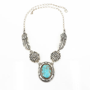 Turquoise Feather & Medallion Necklace