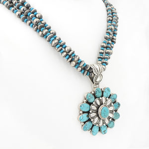 S/S Turquoise Flower W Silver Turq Beads