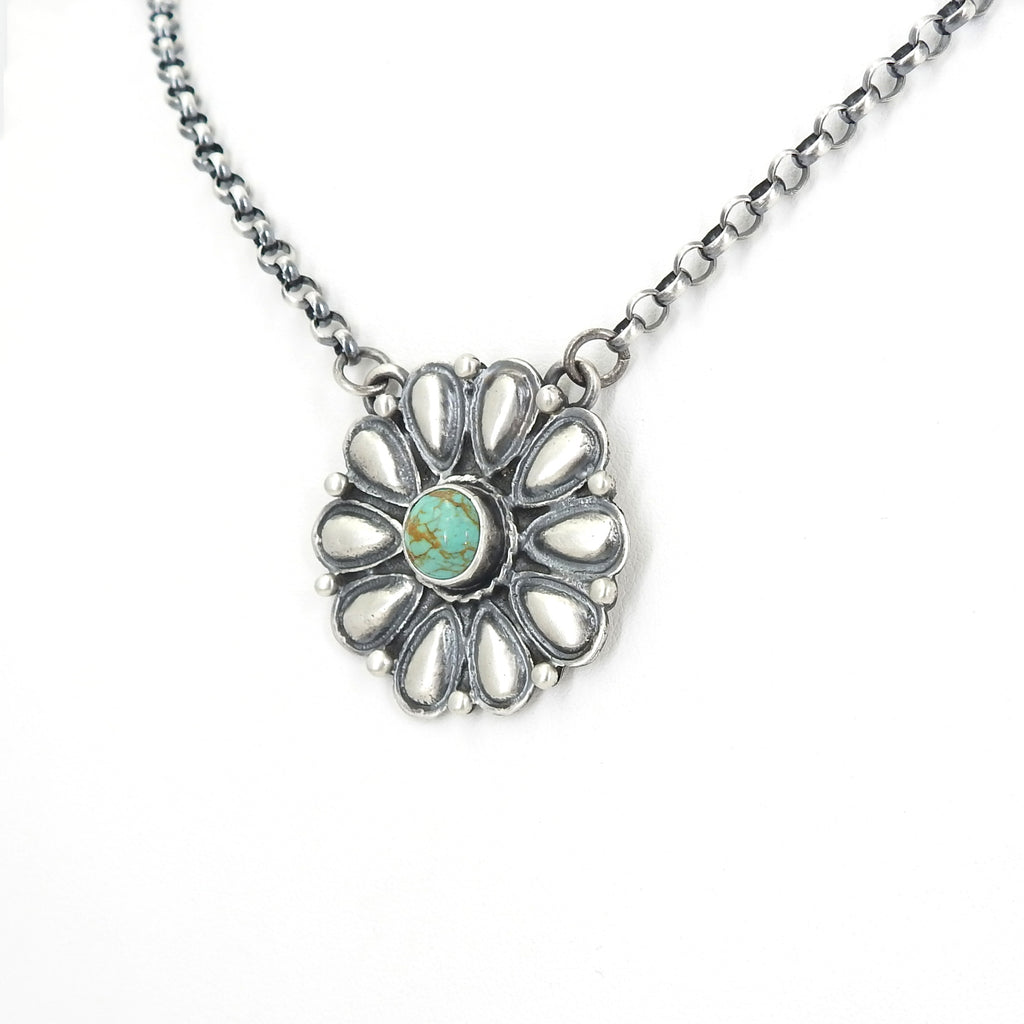 Sterling Silver Navajo Flower & Turquoise Necklace