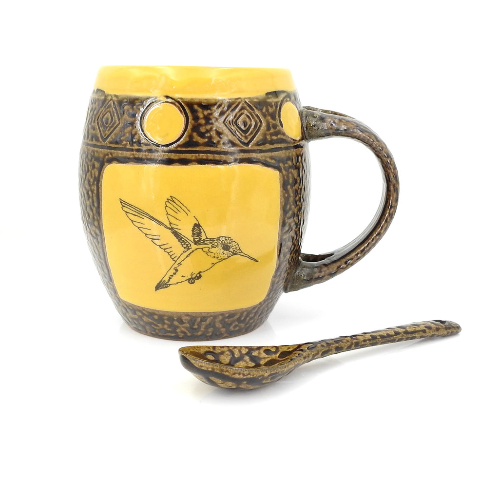 Yellow Hummingbird Mug w/ Spoon
