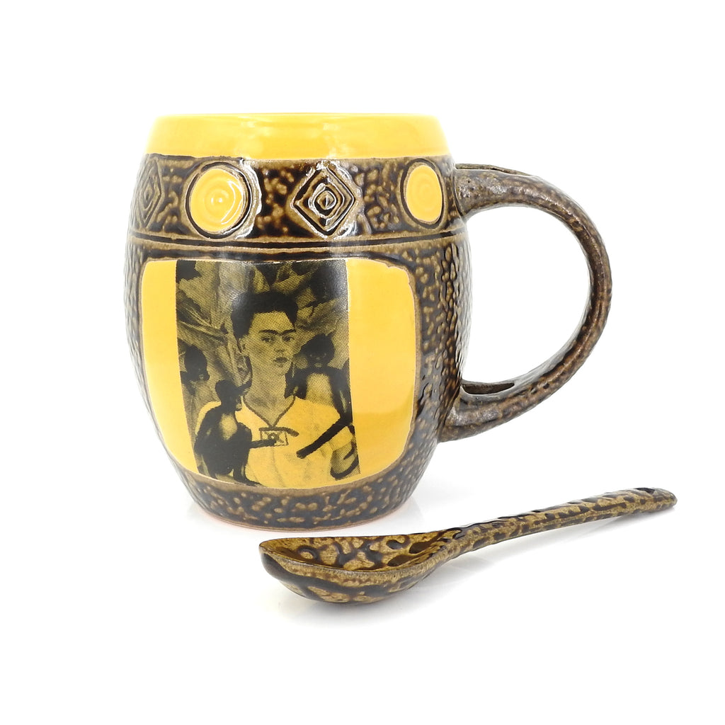 Yellow Frida Mug W Spoon