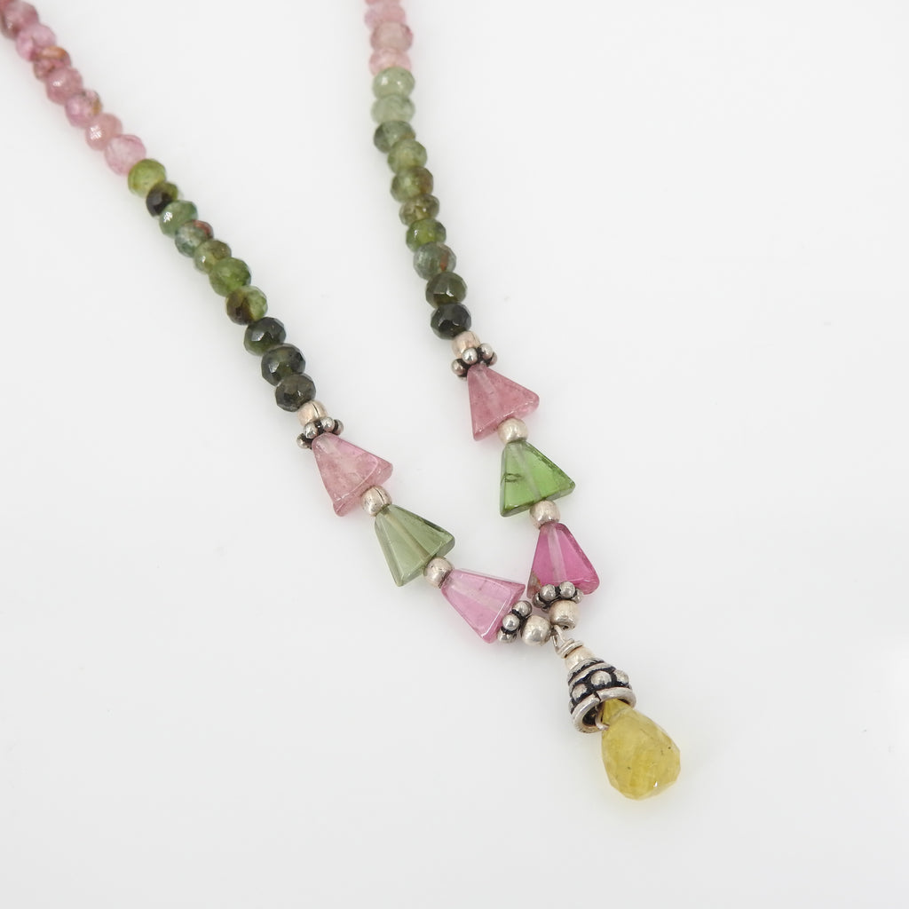 Sterling Silver Mixed Tourmaline Beaded Necklace