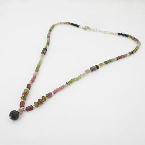 Mixed Tourmaline Beaded Necklace w/ Sterling Silver