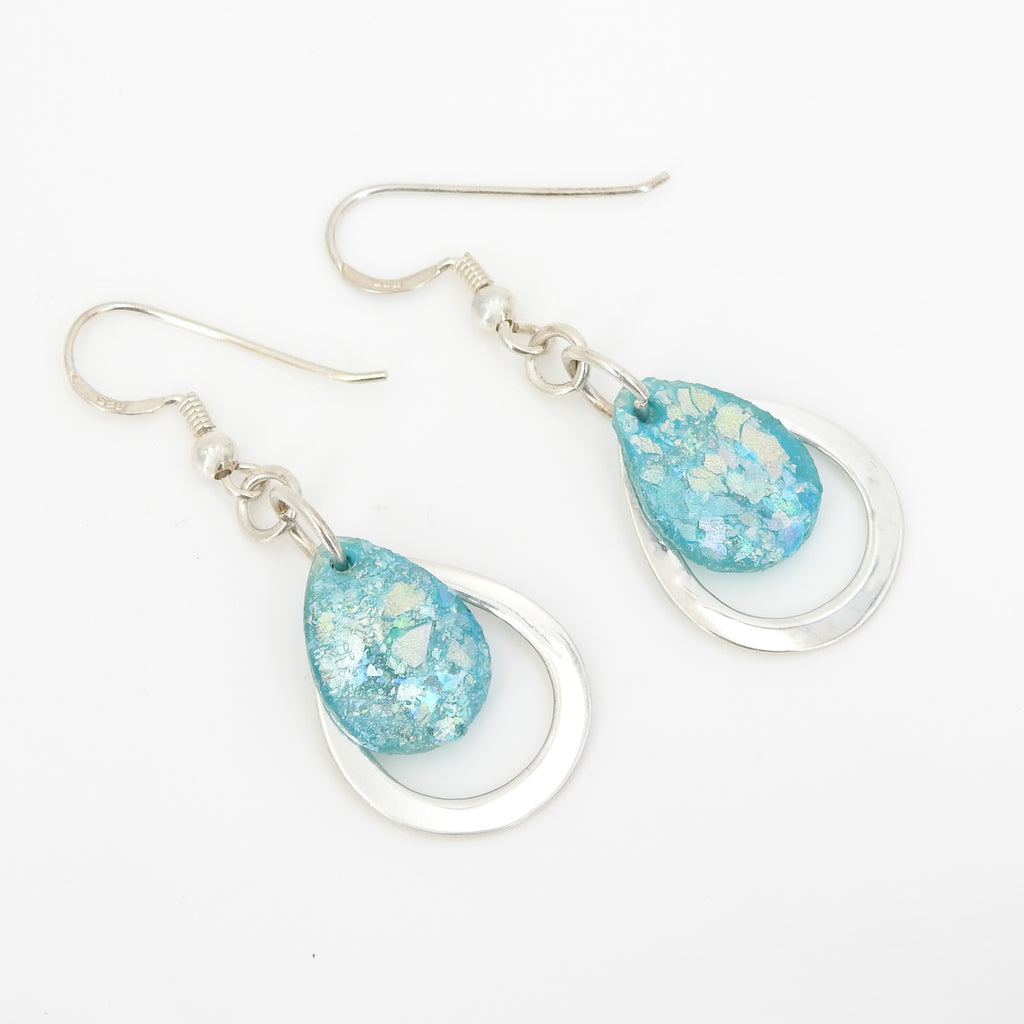 Sterling Silver Roman Glass Hoop Earrings
