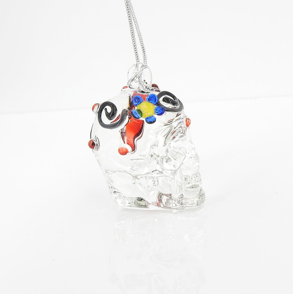 Glass Skull w/ Flower Ornament