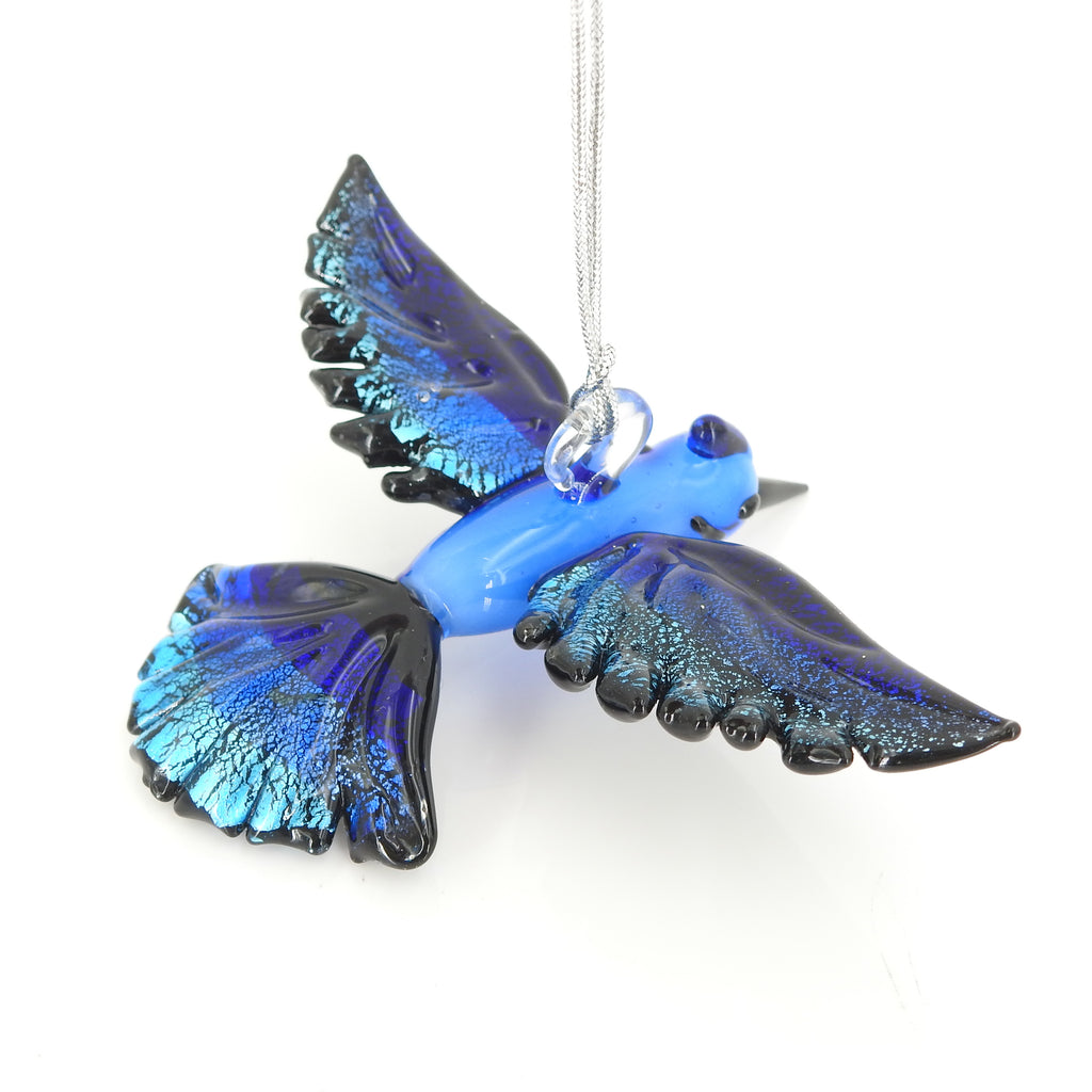 Blue Jay Glass Ornament