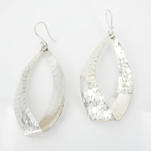 Sterling Silver Hammered Hoop Earring
