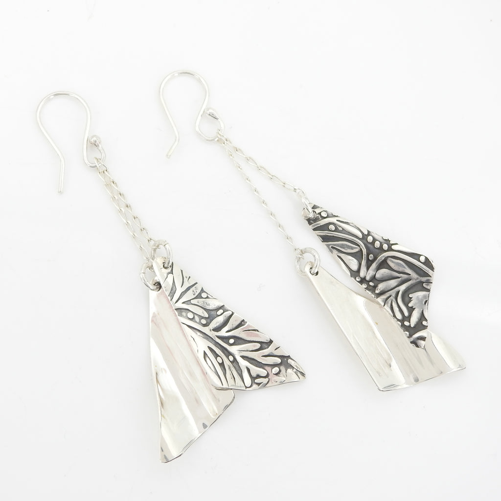 Sterling Silver Chain Earrings w/ Floral Print