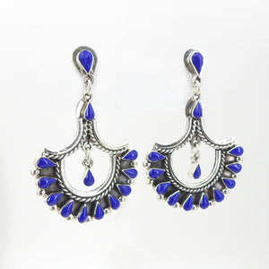 Sterling Silver Lapis Statement Earrings