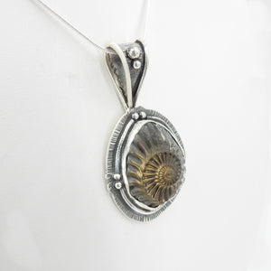 Sterling Silver Ammonite Fossil Pendant