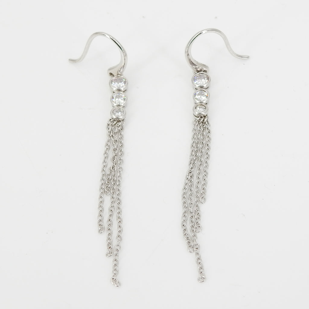 S/S CZ Long Hanging Chain Earrings