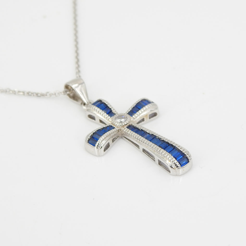 Sterling Silver CZ & Created Sapphire Cross Pendant
