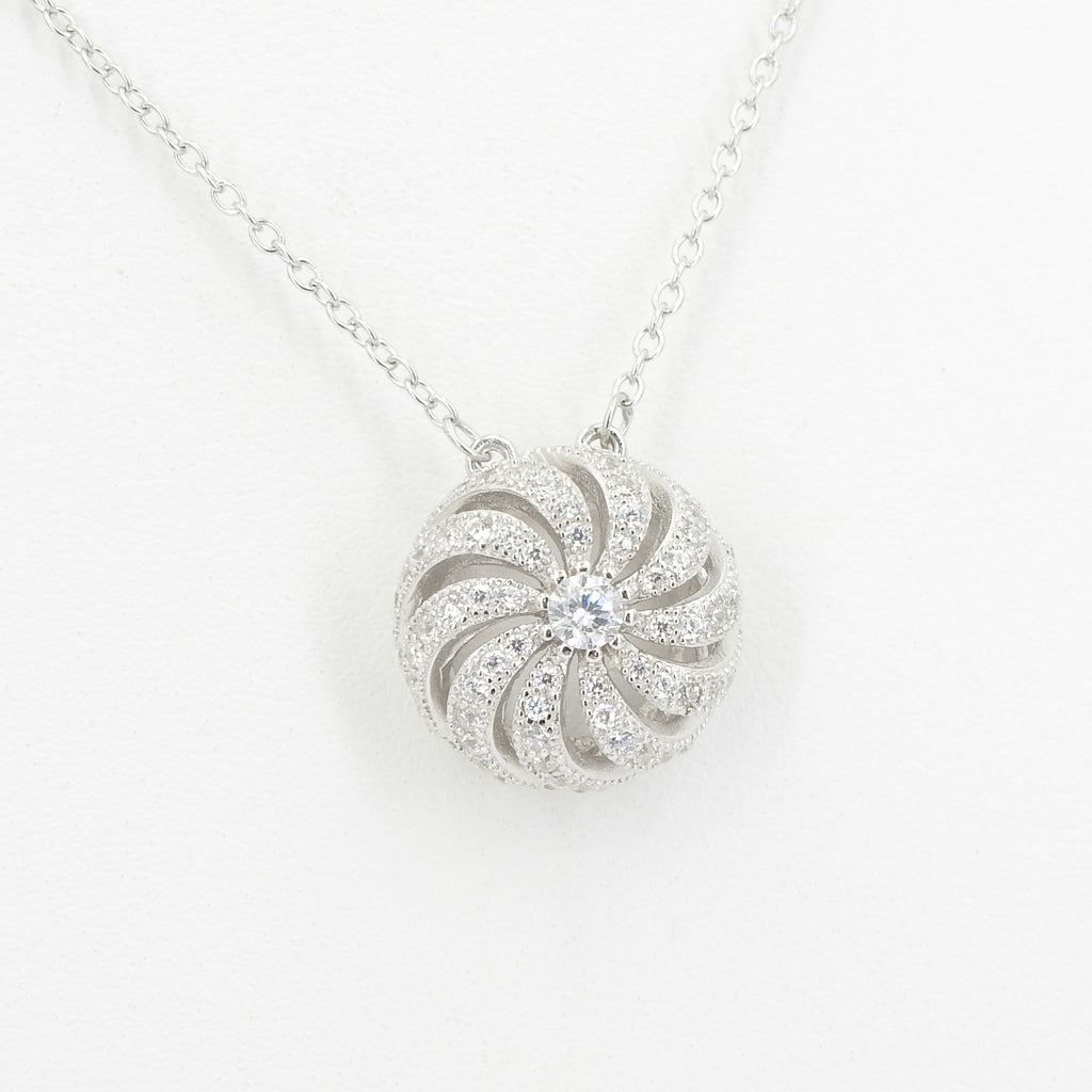 Sterling Silver CZ Pinwheel Necklace
