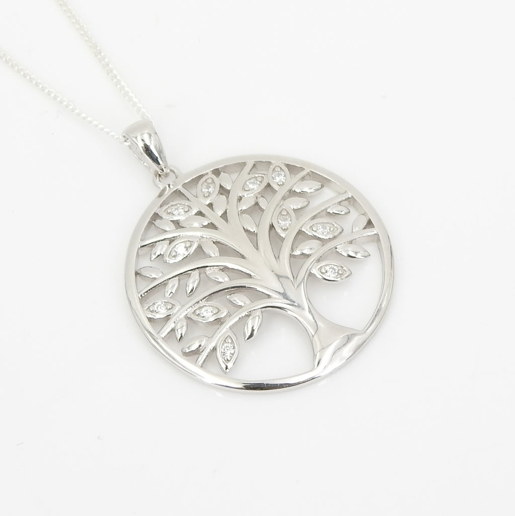 Sterling Silver Tree of Life CZ Pendant