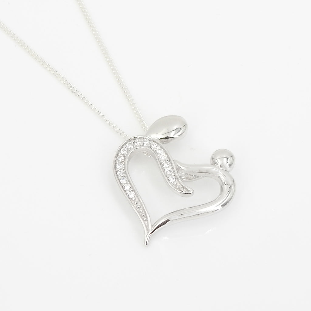 Sterling Silver Mother & Child Heart CZ Pendant
