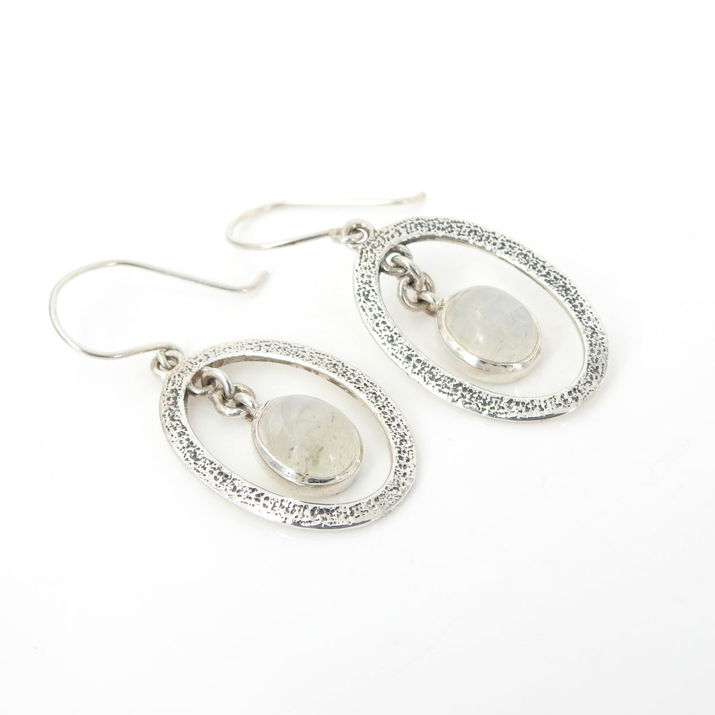 Sterling Silver Rainbow Moonstone Earrings