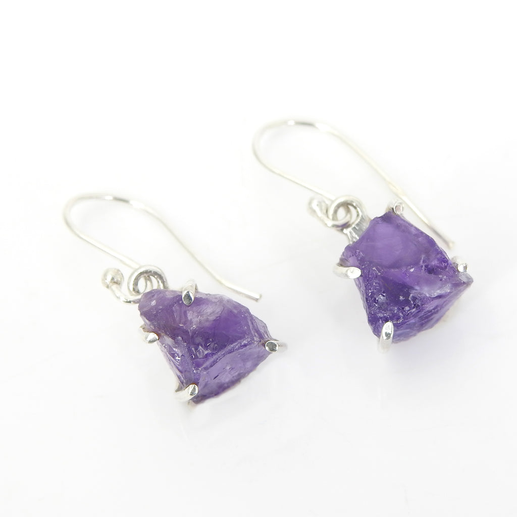 Sterling Silver Rough Amethyst Earrings