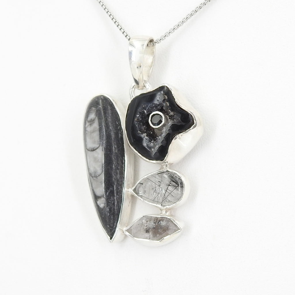 Sterling Silver Black Rutilated Quartz and Agate Pendant