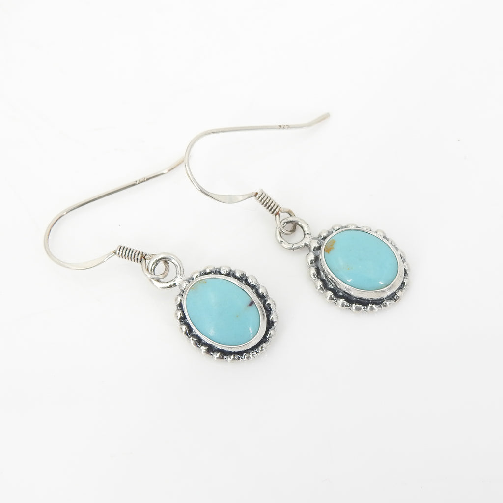 Sterling Silver American Indian Turquoise Earrings